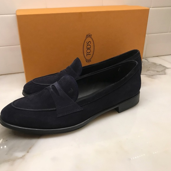 56343866d98 Tods Womens Gomma Navy Suede Loafers Sz 38.5. M 5ab0188d2c705dbef16f3327